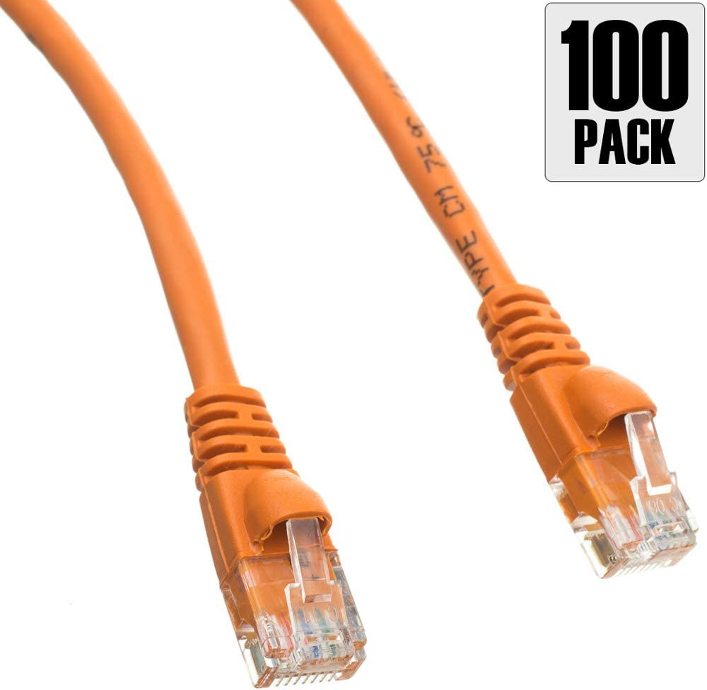 1.5 Foot by Konnekta Cable Snagless//Molded Boot Pack of 100 Cat6 Orange Ethernet Patch Cable