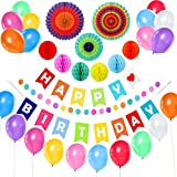 Rainbow Birthday Decorations 31 Pack - Banner, Colorful Honeycomb Balls, Paper Fans, Balloons, Polka Dot Garland for Birthday Party Supplies