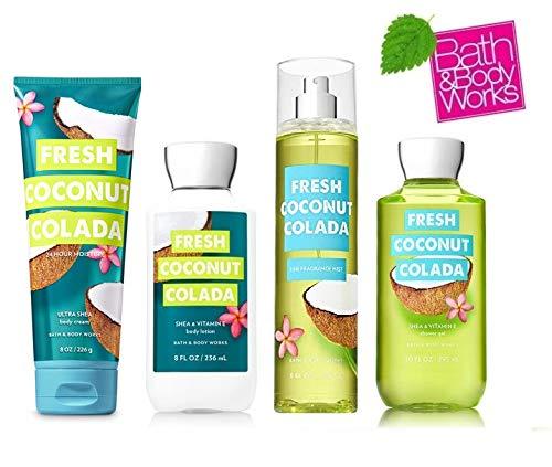 Bath and Body Works Fresh Coconut Colada Deluxe Gift Set - Body Lotion - Body Cream - Fragrance Mist & Shower Gel -Full size by Bath & Body Works