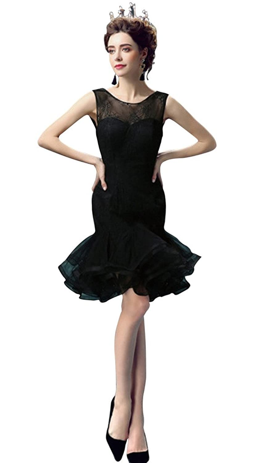 Vimans@ Short Black Scoop Layered Mermaid Bridal Wedding Reception Dresses