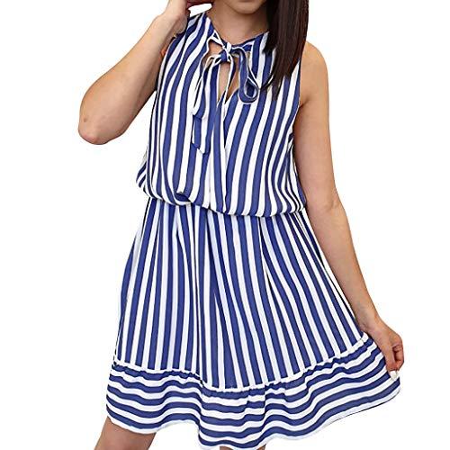 Mikilon Women's Summer Striped Sleeveless Tie Neck Loose Swing Ruffle Midi Dress Blue