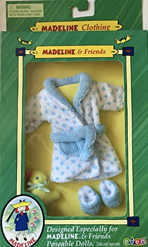 Vintage Madeline & Friends Terry Cloth Blue Polka Dot Bathrobe with Slippers and (Eden Terry)