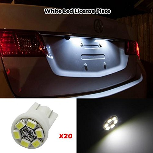 Partsam 20x T10 6-3020-SMD License Plate Lights White LED Bulbs 194 W5W 168 LED Car Miniature Replace Lamps -