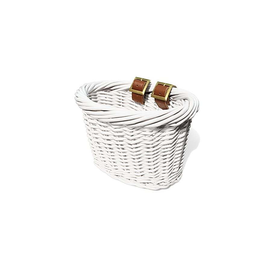 Colorbasket 01495 Kids Front Handlebar Wicker Bike Basket, Leather Straps, White