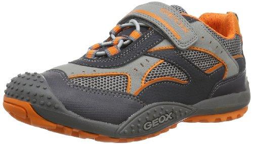 Geox JR MARLON A - Caña baja de lona niño gris - Grau (DK GREY/ORANGE C0904)