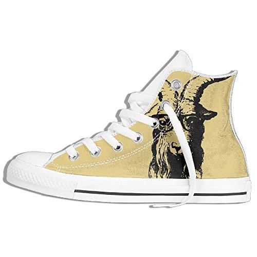 Classic High Top Sneakers Canvas Zapatos Antideslizante Hipster Cabra Casual Walking Para Hombres Mujeres Blanco