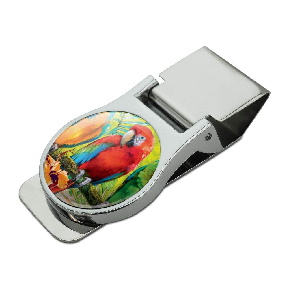 Colorful Tropical Rainforest Parrots Satin Chrome Plated Metal Money Clip