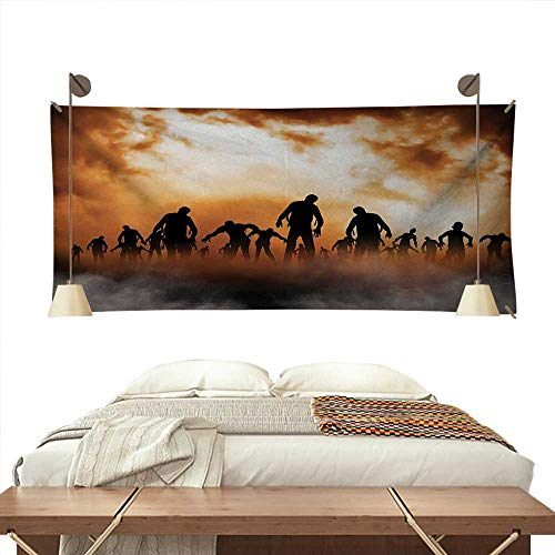 ScottDecor Halloween Dormitory Tapestry Zombies Dead Men Walking Body in The Doom Mist at Night Sky Haunted Theme Print Art Tapestry 80W x 60L InchOrange Black -