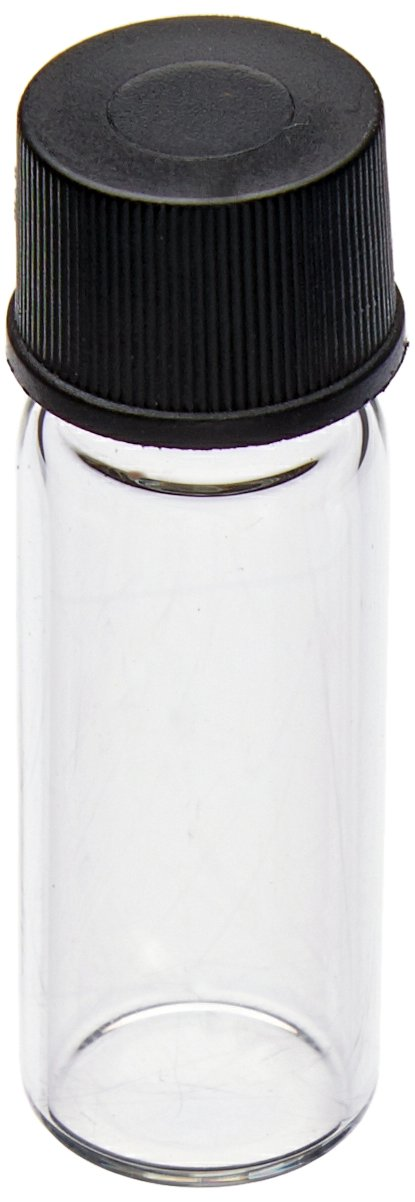 JG Finneran 82020-1235 Borosilicate Glass Dram Sample Vial with Solid Top Cap and PTFE/F217 Septa, Clear, 0.5 Dram Capacity, 12mm Diameter x 35mm Height (Case of 100)