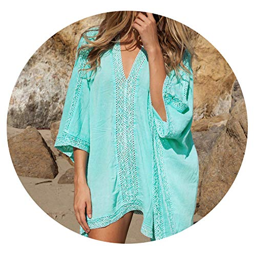shushiye Women Cover Ups Sexy Deep V-Neck Swimsuit Cover Up Beach Cover Up Blue Loose Beachwear,2,A