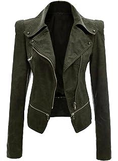 Brinny Damen Kapuzen Lederjacke Motorradjacke Oberbekleidung Kunstlederjacke Leder Jacke Jacket Bikerjacke Blazer