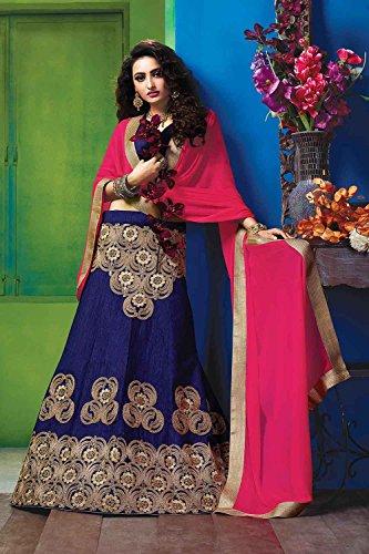 IWS Womens Deep Blue Striking Lehenga Choli With Embroidery Work 84058