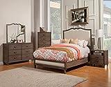 Alpine Furniture 4 Piece Charleston Upholstered Panel Bed Set, Queen, Antique Grey