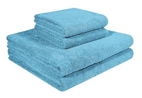 Home and Plan Quick Dry Premium 100% Turkish Cotton Bath Towels & Hand Towels   4-Piece Set, 2 Bath Towels (27x54), 2 Hand Towels (16x27) - Aqua (S4)