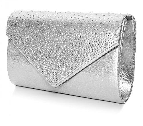25 Evening Satin silver Shoulder x Bag Decoration 5x10x5 Bag W Perez nbsp;cm Clutch Floral Vincent Crystal Rose Bag x Bead Clutch H Pattern T F8wZng5q