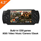 CZT 4.3''Multi-Function Portable Game Handheld Game Console 8Gb Memory Built-in 1200+no-repeat Games support GBA/GBC /GB/SFC/FC/SEGA/SMC Games With MP3 MP5 Camera Function (Black)
