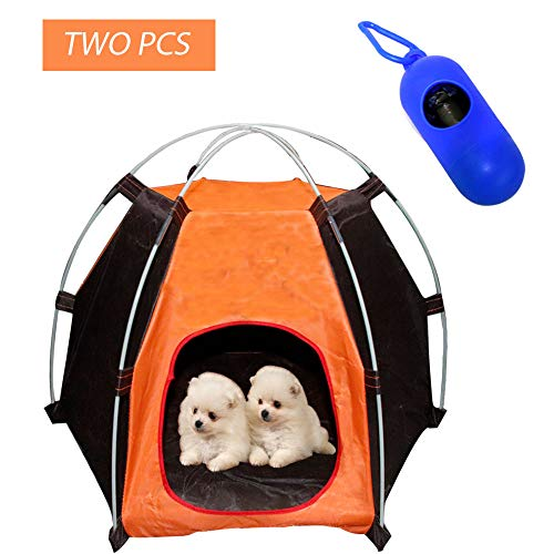 SEEKVER Portable Pet Camping Tents,Outdoor pet Bed, Waterproof Dog Cat Outdoor Sleeping Bag,and Dog Poop Bags with Dispenser