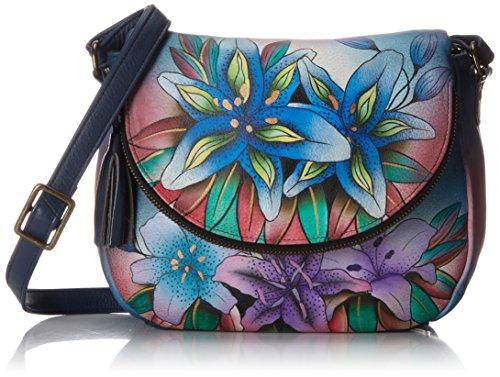 Anuschka Medium Flap Over Convertible Shoulder Bag, Luscious Lilies Denim, One Size by ANUSCHKA