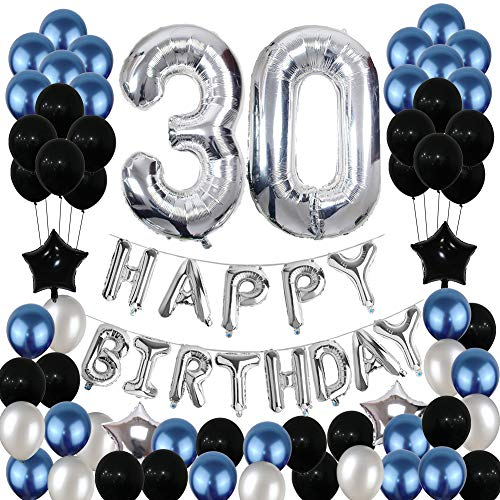 30th Birthday Decorations,Yoart 30 Birthday Balloons Party Supplies Happy Birthday Banner Latex Balloons Foil Star Balloons Blue Black (81PCS)]()