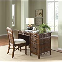 Polynesian 2 Pc. Bamboo Desk & Chair Set in Antique Finish