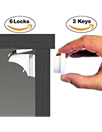 Baby & Child Proof Cabinet & Drawers Magnetic Safety Locks Set of 6 with 2 Keys By Eco-Baby - Heavy Duty Locking System with 3M Adhesive Tape Easy To Install Without Damaging Your Furniture BOBEBE Online Baby Store From New York to Miami and Los Angeles