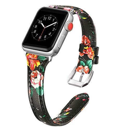Secbolt Leather Bands Compatible Apple Watch Band 42mm 44mm Stainless Steel Buckle Replacement Slim Wristband Sport Strap Iwatch Nike+, Series 4/3/ 2/1, Edition, Black/Red Floral