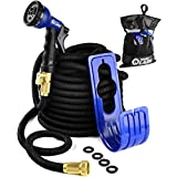 2017 Expandable Garden Hose 100 Feet with 8 Spray Pattern Nozzle Strongest on the Market with Triple Layer Latex Core & Latest Improved Extra Strength Fabric Protection Pocket Bag Included