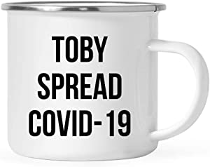 Andaz Press Funny Self Isolation Quarantine Pandemic Virus 11oz. Stainless Steel Campfire Coffee Mug Gift, Toby Spread Covid-19, 1-Pack, Office Birthday Christmas Stay at Home Gift Ideas