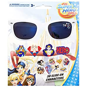 WB DC Comics DC Super Hero Kid's Sunglasses with 3D Slide-on Characters White