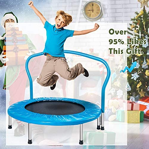 Merax 36 Mini Trampoline for Kids Exercise Rebounder Portable Trampoline with Handrail and Padded Cover