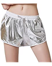Pantalones Cortos Deportivos para Mujer con cinturón y Pantalones Cortos de Piel Metalizada Brillante y Fondo elástico para Deporte, Cortos, Fitness, Running, Dolphin, Pantalones Cortos con Bolsillos