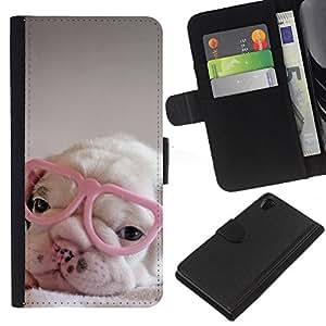 EJOY---La carpeta del tirón la caja de cuero de alta calidad de la PU Caso protector / Sony Xperia Z2 D6502 / --perrito rosa lindo vidrios del corazón dulce