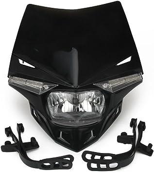 Jfg Racing Universal Motorrad Scheinwerfer Kopf Lampe Led Leuchten Für Motocross Dirt Pit Bike Schwarz Auto