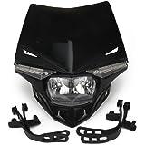 JFG RACING S2 12V 35W Universal Motorcycle Headlight Head Lamp Led Lights For Honda Kawasaki Suzukki Yamaha KTM Dirt Pit Bike ATV - Black