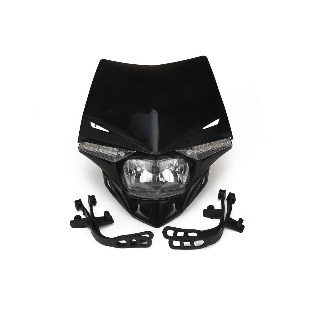 JFG RACING S2 12V 35W Universal Motorcycle Headlight Head Lamp Led Lights For For Honda Kawasaki Suzukki Yamaha Dirt Pit Bike ATV - Black by JFG RACING