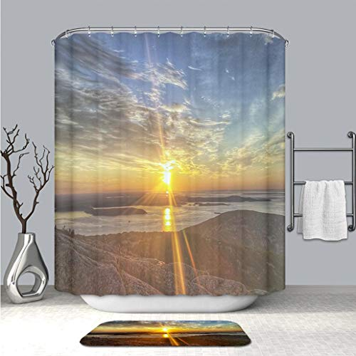 BEICICI Custom Personalized Shower Curtain and Floor Mat Cadillac Mountain Morning Sunrise Bar Harbor Acadia Maine Waterproof Polyester Fabric Shower Curtain and Floor Mat Combination Set