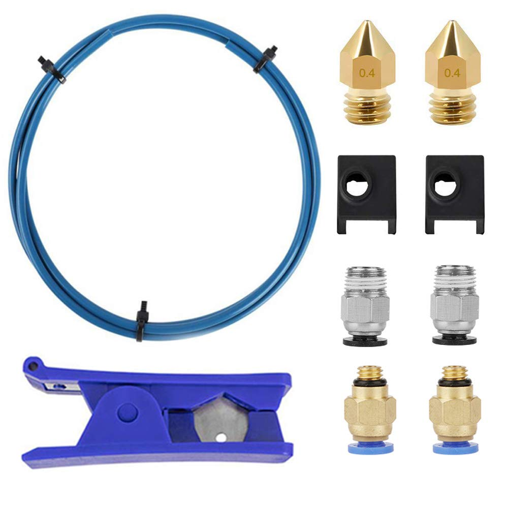 CREALITY UPGRADE 3D PRINTER KIT CAPRICORN PREMIUM XS BOWDEN TUBING 2M, PTFE TEFLON TUBE CUTTER PNEUMATIC FITTINGS AND MK8 SOCKS AND EXTRA NOZZLES FOR ENDER 3   3 PRO   5 CR-10 SERIES   10S   20   20 PRO