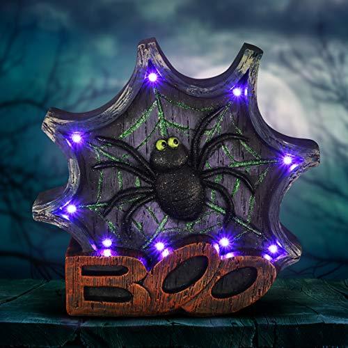 Stone Marquee Halloween (Exhart Halloween Spider Decoration & Garden Statue w/ Purple LED Lights - Spider Web BOO Marquee Halloween Gifts, 2.5