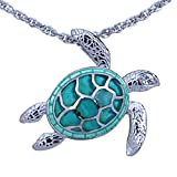 Guy Harvey Enameled Sea Turtle Necklace Crafted in Sterling Silver with 18 Inch Adjustable Chain