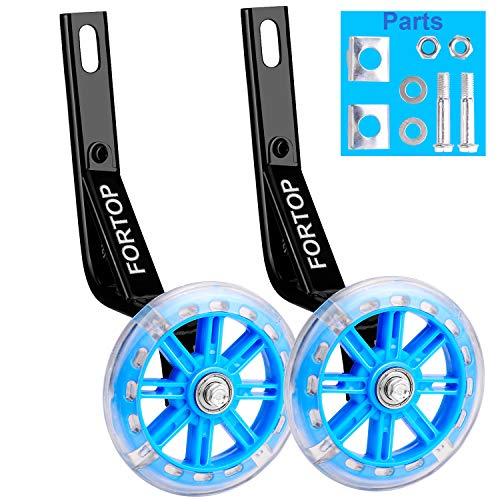 FORTOP Bicycle Training Wheels Heavy Duty Rear with Stabilizers Mounted Kit for Kids Boy Girls Bikes of 12 14 16 18 20 Inch (Blue Wheels, 16Inch) ()
