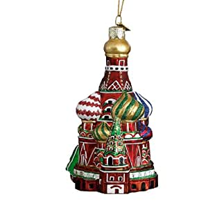 Kurt Adler 5-1/2-Inch Noble Gems Glass Kremlin's St. Basil's Cathedral Russia Ornament