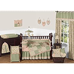 Sweet Jojo Designs Annabel Sage Green Floral Antique Flower Baby Girl Bedding 9pc Crib Set