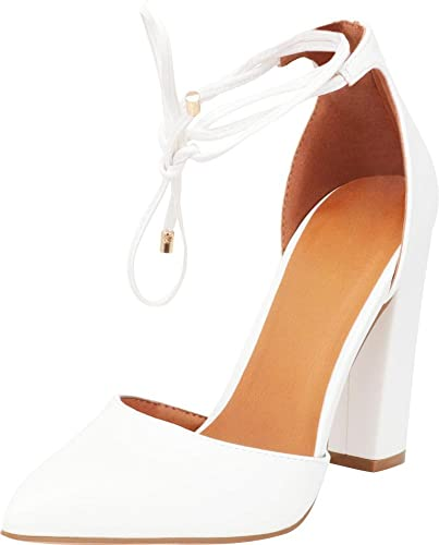 c2cc57f473c Cambridge Select Women s D Orsay Closed Pointed Toe Ankle Tie Chunky Block  Heel Pump (