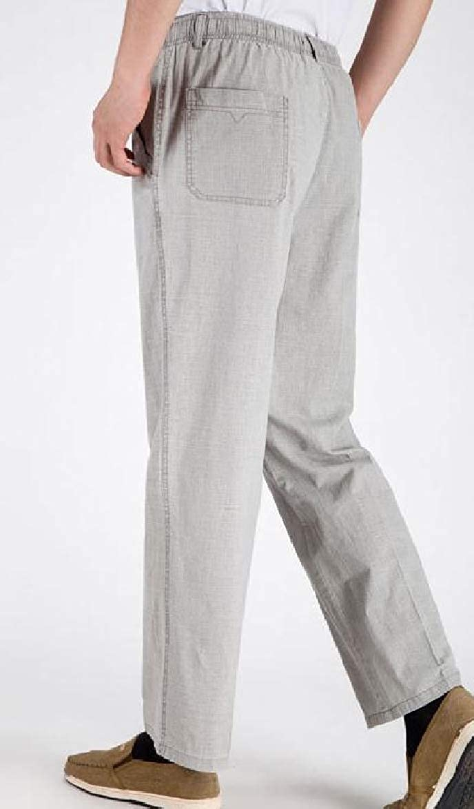 Tingwin Mens Standard-fit High Waisted Baggy Chic Soft Linen Casual Straight Trousers