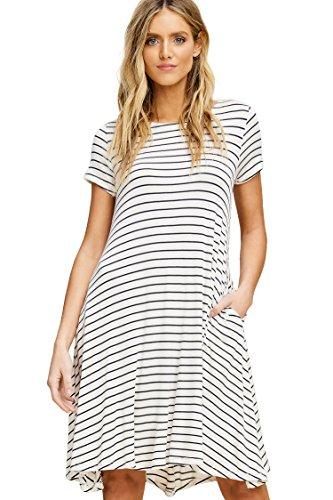 Slanted Pocket - Annabelle Women's Short Sleeve Round Neck Stripe Print Flowy Midi Plus Size Dress with Side Slanted Pockets Ivory-Navy X-Large D5390P
