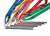 "Sportime 36"" Plastic Glitter Wands with Satin Ribbon Streamers, Assorted Colors (Set of 6)"