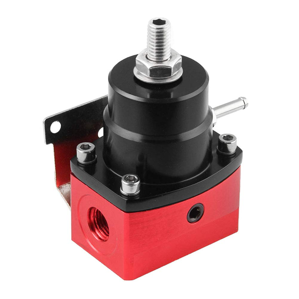 Shentesel Fuel Pressure Regulator 100psi Gauge an 6 End Fittings Kit Adjustable Universal - Black Red by Shentesel