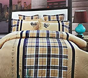 Deng King Size, Cotton, Check Pattern, Multi Color - Bedding Sets
