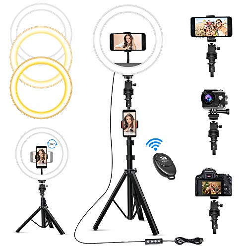 10″ Selfie Ring Light with 63″ Tripod Stand & 3 Phone Holders, Dimmable Led Camera Ringlight for Live Streaming, YouTube, Video, Makeup, Photography, Compatible with iPhone Android (Upgraded)