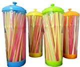 Colorful Plastic Drinking Straw Pull-up Dispenser 80 Straws Included